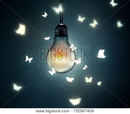 luminous bulb and butterflies flying on light, 3D illustration