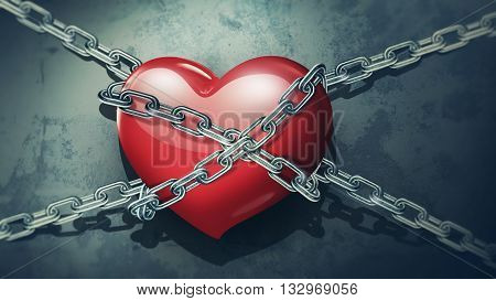 red heart in chains close-up on a background of dirty old wall, 3D illustration