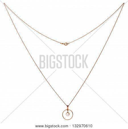 Golden chain with pendant isolated on the white background