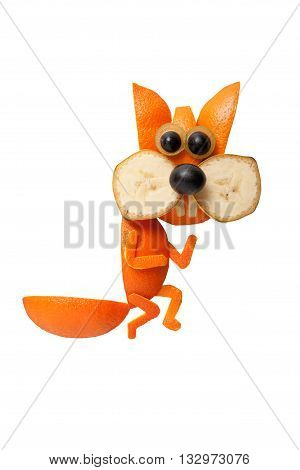 Sneaky squirrel made of orange on isolated background