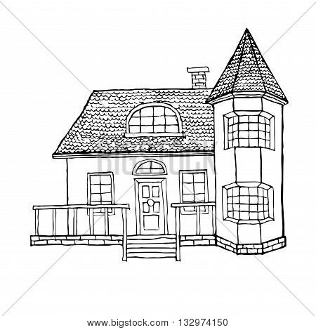 village house with a bay window a turret a loft and a terrace. The house in Victorian style. Vector illustration