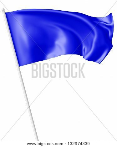 Blue Flag On Flagpole Waving In Wind