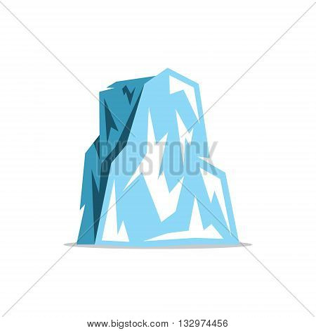 Icy rock with a plurality of protrusions. Isolated on a White Background