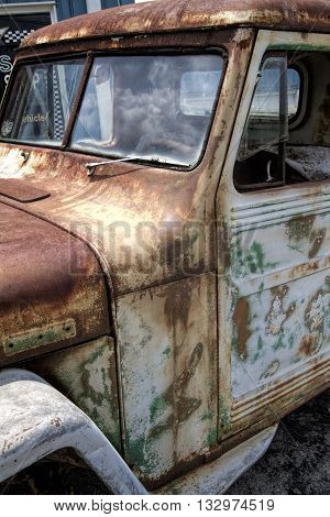 Rusty Old Antique Vintage Automobile Truck - Junkyard Find