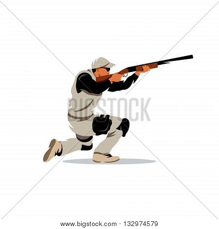 A Man with a Gun in his hands ready to shoot on goal. Isolated on a White Background