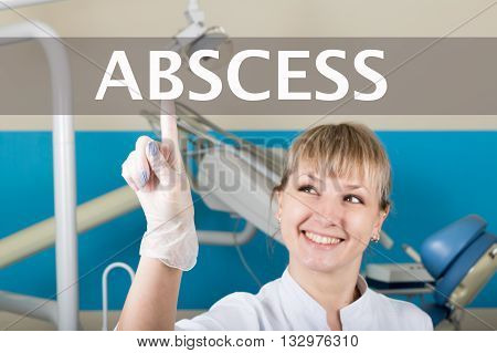 technology, internet and networking in medicine concept - medical doctor presses abscess button on virtual screens. Internet technologies in medicine.