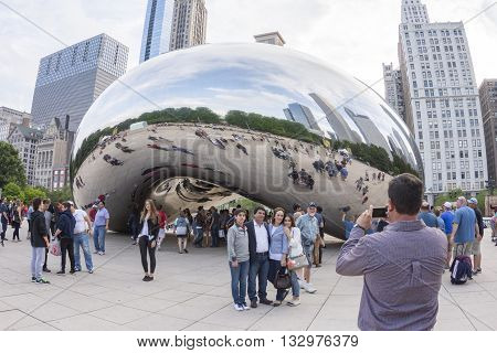 CHICAGO USA - JUNE 4 2016: The Cloud Gate sculpture also known as