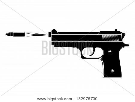 gun. The black gun and the flying bullet with a flame on a white background