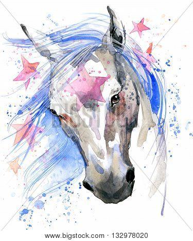 White horse T-shirt graphics. white horse illustration with splash watercolor textured background. unusual illustration watercolor white horse for fashion print, poster, textiles, fashion design