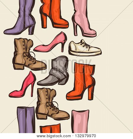 Seamless pattern with shoes. Hand drawn illustration female footwear, boots and stiletto heels.