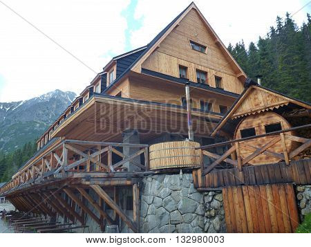 Big Mountain Hut With Terrace And Wooden Facade