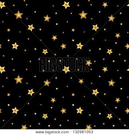 Stars seamless pattern gold and black retro background. Chaotic elements. Abstract geometric shape texture. 3d effect sky. Design template for wallpaper wrapping fabric textile. Vector Illustration