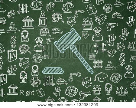 Law concept: Chalk Blue Gavel icon on School board background with  Hand Drawn Law Icons, School Board