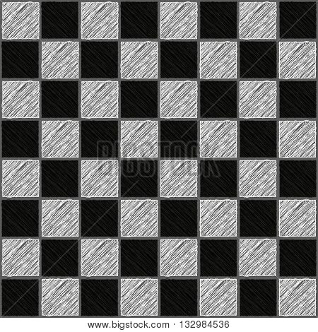 Seamless texture chessboard of sketched of black and white squares vector illustration.