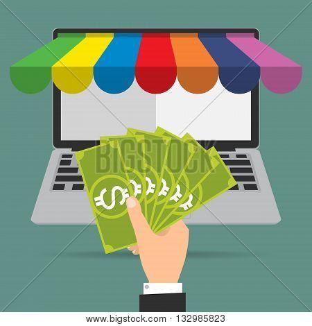 Businessman hand give banknote money for shopping online.Vector illustration Omnichannel online marketing concept.