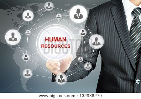 Businessman hand pointing on HUMAN RESOURCES sign on virtual screen with human icons linked as network