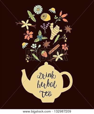 vector illustration of tea pot and herbs coming out of the pot Drink herbal tea text