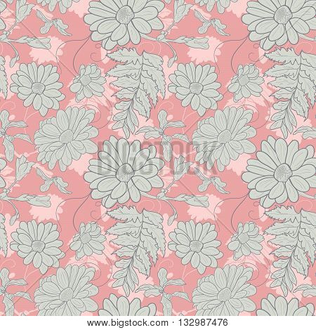Camomile hand-drawn seamless pattern. Vector illustration for textile surface web mobile and print. Camomile on pink background.