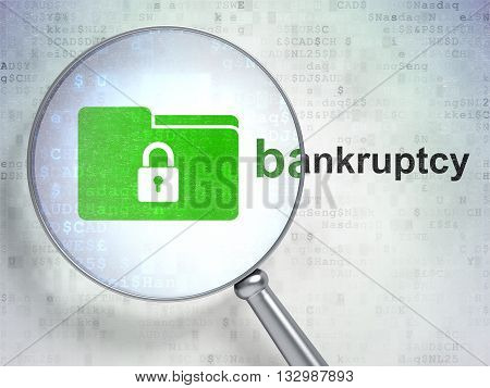Finance concept: magnifying optical glass with Folder With Lock icon and Bankruptcy word on digital background, 3D rendering
