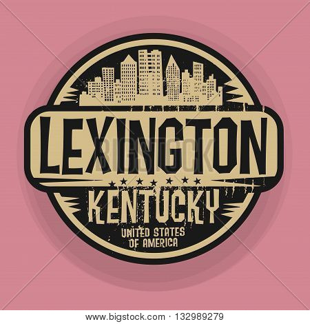 Stamp or label with name of Lexington, Kentucky, vector illustration