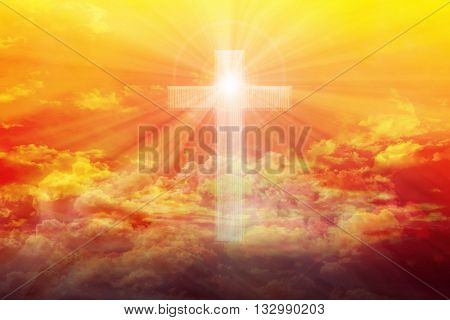 Light from sky or heaven shine through crucifix or cross form on colourful golden shining puffy clouds sky heaven dreamy golden sky with crucifix or cross and God light poster