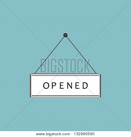 Vector illustration opened sign. Flat icon on blue background. Opened sign hanging on nail. Open