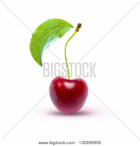 Cherry isolated on white with clipping path. Ripe cherry isolated. Sherry berry fruit isolated on white background. Sweet cherry. Red cherry. Cherry on white. Cherry isolated.