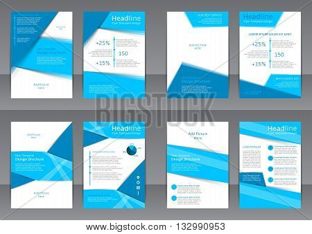 Set of the blue and white flyers, cover and report with place for text. Vector templates of brochures with place for picture for your business in A4 size.