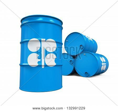 OPEC Flag Oil Barrel isolated on white background. 3D render