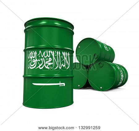 Saudi Arabia Flag Oil Barrel isolated on white background. 3D render