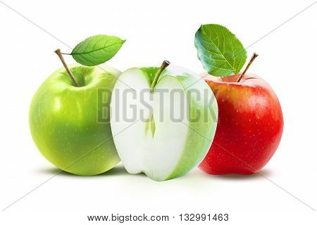Red and green apples and half of green apple isolated on white background with clipping path. Two juicy ripe colored apples on a white background isolated with clipping path.