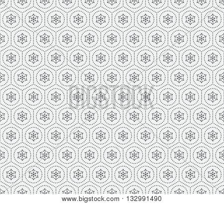 Seamless pattern. Abstract small dotted background. Simple stylish texture with regularly repeating geometrical shapes dotted circles hexagons. Vector element of graphical design