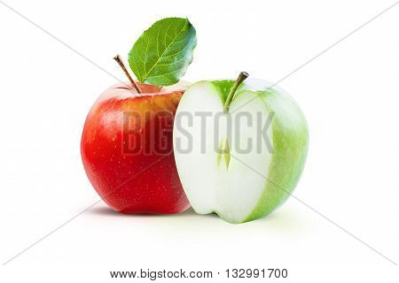 Red apple and half of green apple isolated on white background with clipping path. Two juicy ripe colored apples on a white background isolated with clipping path.