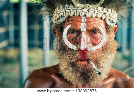 Smoking Man In Papua New Guinea