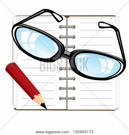 Open note pad and pencil with spectacles on white background