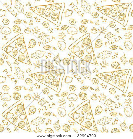 Pizza sketch ingredients - seamless pattern, vector eps10