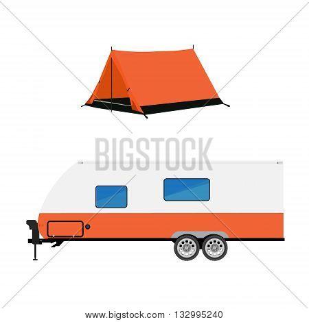 Vector illustration recreative vehicle and orange camping tent. Trailer capmer. rv camper trailer icon. Modern realisctic caravan