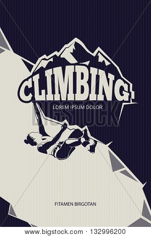 Climbing, trekking, hiking, mountaineering vector background. Mountain climbing sport and adventure outdoor climbing illustration