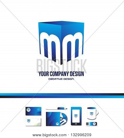 Vector company logo icon element template alphabet letter M cube blue games media