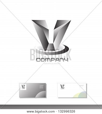Vector company logo icon element template alphabet letter V metal silver grey games