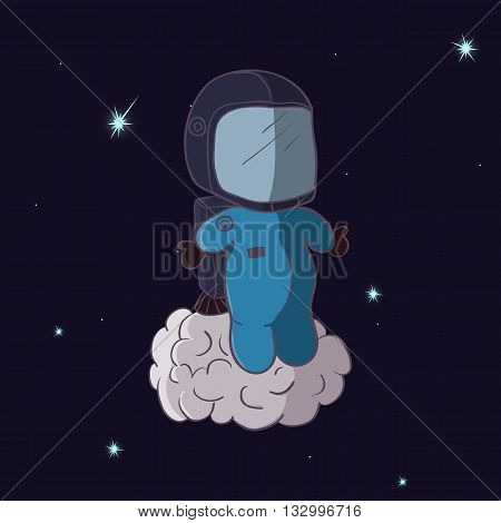 Cartooning astronaut with jetpack in the space.