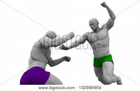 Mixed Martial Arts Training and Sparring Course 3d Illustration Render
