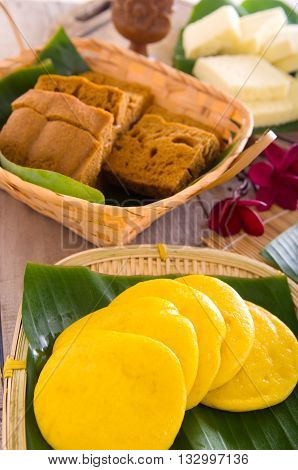 Ma Lai Gou-Traditional malaysia steamed cake. Steam chinese cake on bamboo plate. Chinese egg cake on banana leaf.