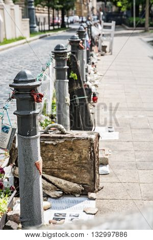 The memory of Jewish victims Budapest Hungary. Commemorative objects. Cultural heritage. Vertical composition. Judaism theme.