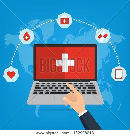 Business man hand point to computer laptop for telemedicine and telehealth concept. Vector illustration cloud internet of things technology trend.
