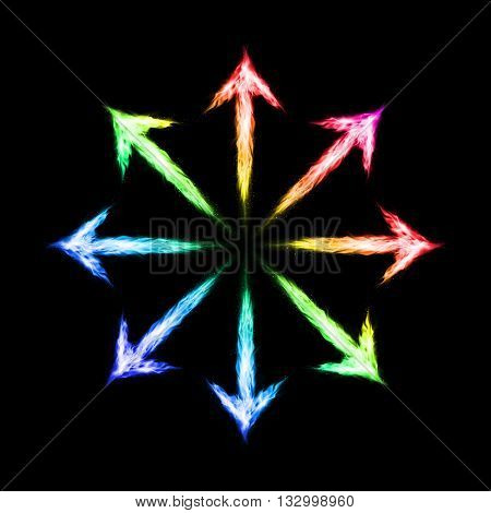 Many colorful fire arrows directed outwards. Illustration on black background