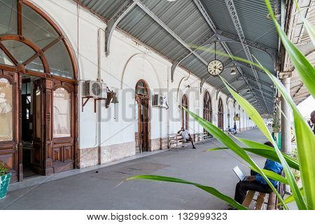 Maputo - Nov 27: Maputo Railway Station is one of the top ten tourist attractions featuring several historic steam locomotives. Nov 27 2014, Maputo Mozambique