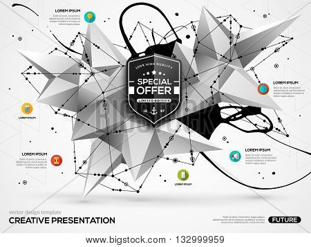 3D abstract background with black paint stain and geometric shapes. Vector design layout for business presentations, flyers, posters. Scientific future technology background. Geometry polygon.
