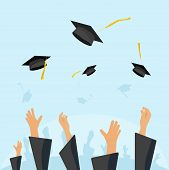 Graduating students of pupil hands in gown throwing graduation caps in the air flying academic hats throw mortar boards in the sky flat cartoon vector illustration design isolated on blue background poster