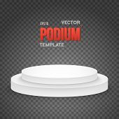 Illustration of Photorealistic Winner Podium Stage Template. Speaker Podium Stage Isolated on Transparent PS Style Background for Product Placement, Presentations, Contest. poster